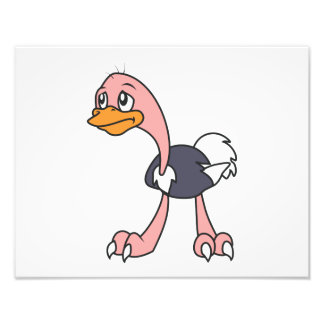 Crying Cute Ostrich Bird Mug Greeting Cards Photo Print
