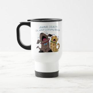 Crying dog and cat crying shame stainless steel travel mug