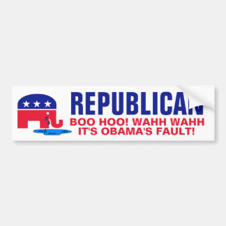 Crying Elephant - Boo Hoo It s Obama s Fault Bumper Stickers