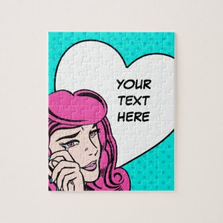 Crying girl pop art jigsaw puzzle