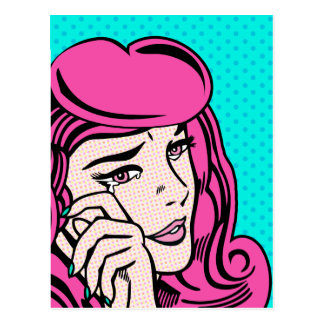 Crying girl pop art postcard