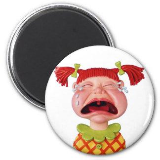 Crying GirlW 6 Cm Round Magnet