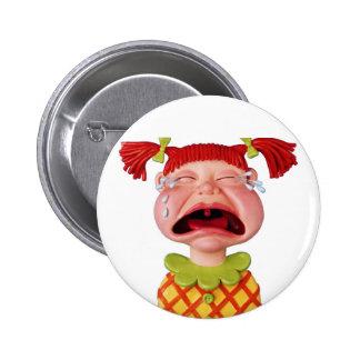Crying GirlW Pinback Button