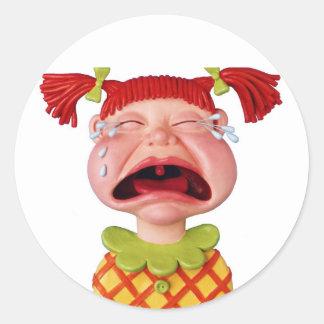 Crying GirlW Round Sticker