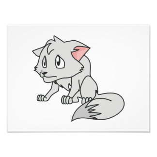 Crying Gray Young Wolf Pup Invitation Stamps Photo