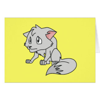 Crying Gray Young Wolf Pup Magnet Button Pillow Greeting Cards