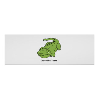 Crying Green Crocodile Tears Card Magnet Pin Posters