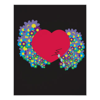 Crying Heart with Flowers Poster