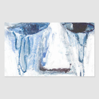 Crying Man (face portrait expressionism ) Rectangular Sticker