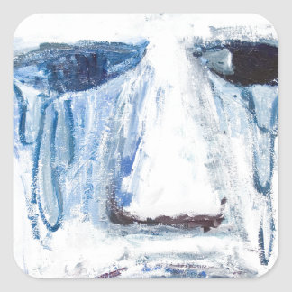 Crying Man (face portrait expressionism ) Square Sticker