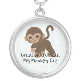 Crying Monkey Silver Plated Necklace