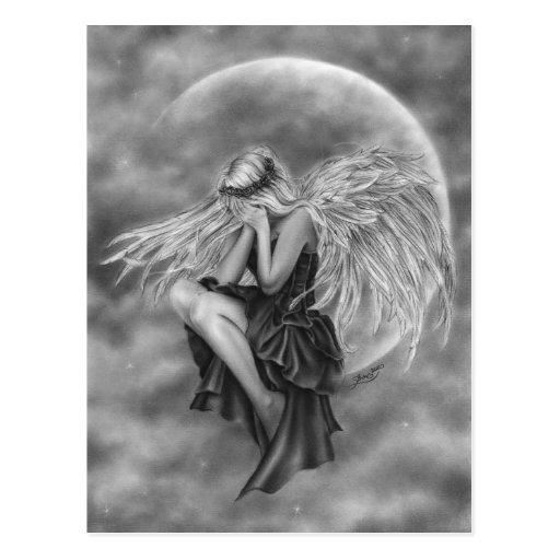 Crying Moon Angel Postcard