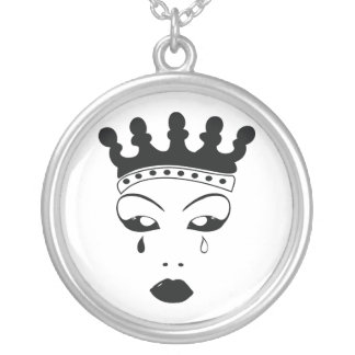 Crying Queen Round Pendant Necklace
