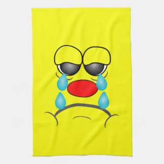Crying Smiley Tea Towel
