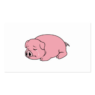 Crying Weeping Pink Piglet Card Label Stamps Business Cards
