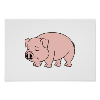 Crying Weeping Pink Piglet National Pig Day Poster