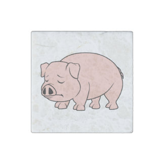 Crying Weeping Pink Piglet National Pig Day Stone Magnet
