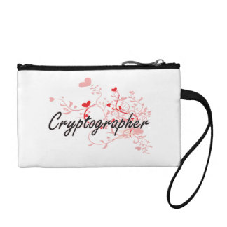 Cryptographer Artistic Job Design with Hearts Coin Wallets