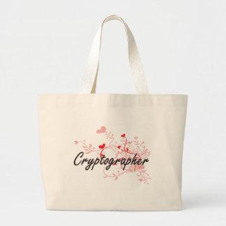 Cryptographer Artistic Job Design with Hearts Jumbo Tote Bag