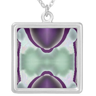 Crystal and Spirit Alignment : Purple Power Symbol Square Pendant Necklace
