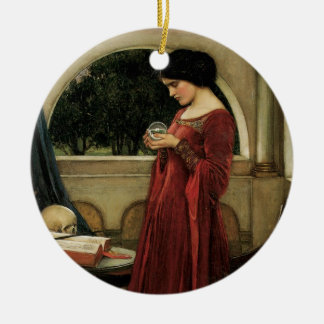 Crystal Ball by Waterhouse, Vintage Victorian Art Christmas Ornament