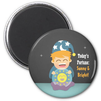 Crystal Ball Fortune Teller Think Positive 6 Cm Round Magnet