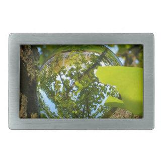 Crystal Ball in Gingko tree Belt Buckle