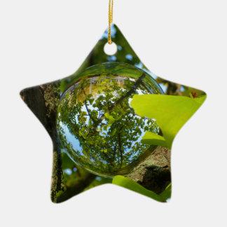 Crystal Ball in Gingko tree Ceramic Star Decoration