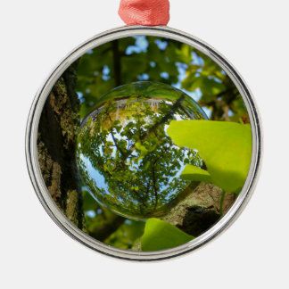 Crystal Ball in Gingko tree Silver-Colored Round Decoration