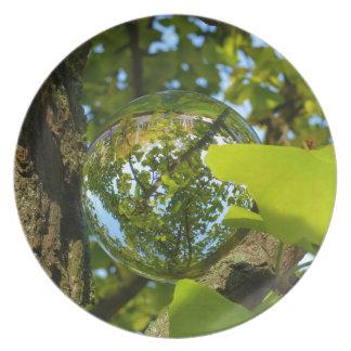 Crystal Ball in Gingko tree Plate