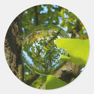 Crystal Ball in Gingko tree Round Sticker