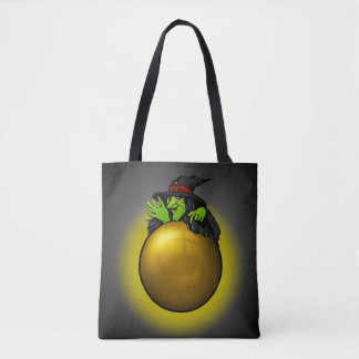 Crystal Ball Witch Black Gold Tote Bag