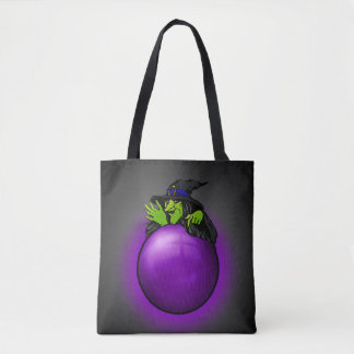 Crystal Ball Witch Black Purple Tote Bag