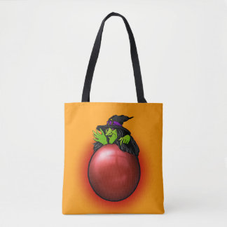 Crystal Ball Witch Customizable Red Tote Bag