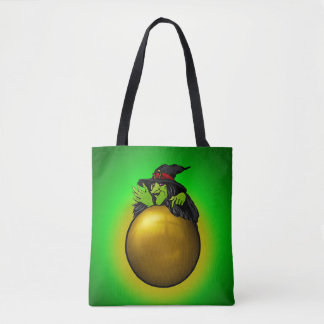 Crystal Ball Witch Green Tote Bag