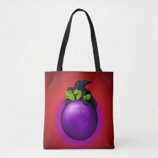 Crystal Ball Witch Red Tote Bag