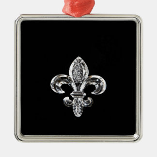 Crystal Black Fleur de lis Christmas Ornament