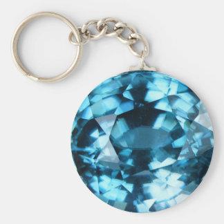 Crystal Blue Gemstone Zircon December Birthstone Basic Round Button Key Ring