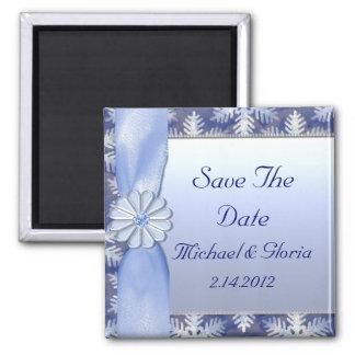 Crystal Blue Snowflake Celebration Square Magnet