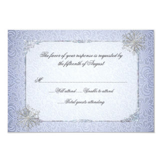 Crystal Blue Snowflake Wedding Response Card 9 Cm X 13 Cm Invitation Card