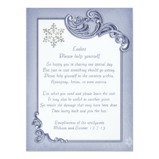 Crystal Blue Winter Frame Wedding Basket Sign 17 Cm X 22 Cm Invitation Card