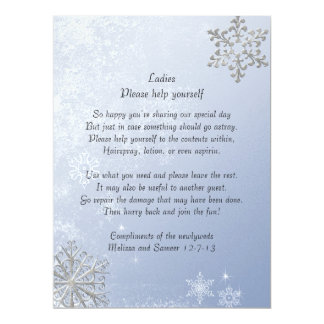 Crystal Blue Winter Snowflake Wedding Basket Sign 17 Cm X 22 Cm Invitation Card