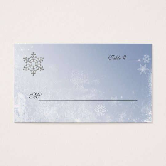 Crystal Blue Winter Wedding Place Cards