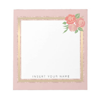 """Crystal Blush Gold and Roses Notepad 5.5"""" x 6"""""""