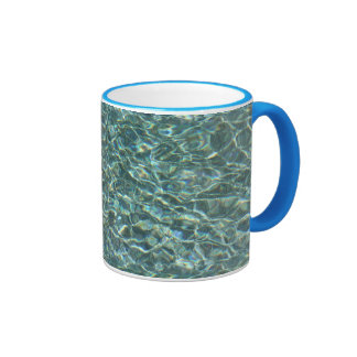 Crystal Clear Blue Water Surface Reflections Ringer Mug