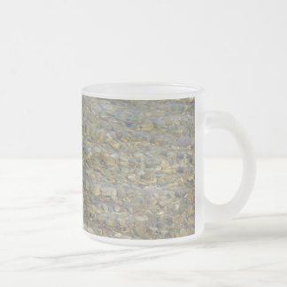 Crystal clear lake water with gravelly beach frosted glass mug