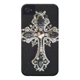 CRYSTAL CROSS BLACK VELVET PRINT iPhone 4 Case-Mate CASES