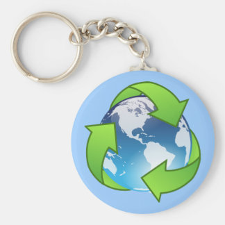 Crystal earth globe recycle icon basic round button key ring