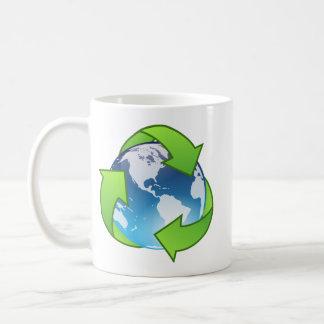 Crystal earth globe recycle icon basic white mug