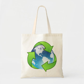 Crystal earth globe recycle icon budget tote bag